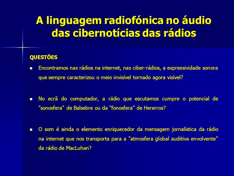 A linguagem radiofónica no áudio das cibernotícias das rádios QUESTÕES Encontramos nas rádios na internet, nas ciber-rádios, a expressividade sonora q