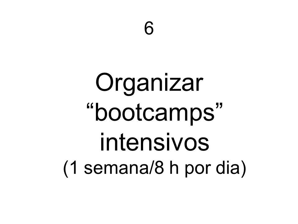 6 Organizar bootcamps intensivos (1 semana/8 h por dia)