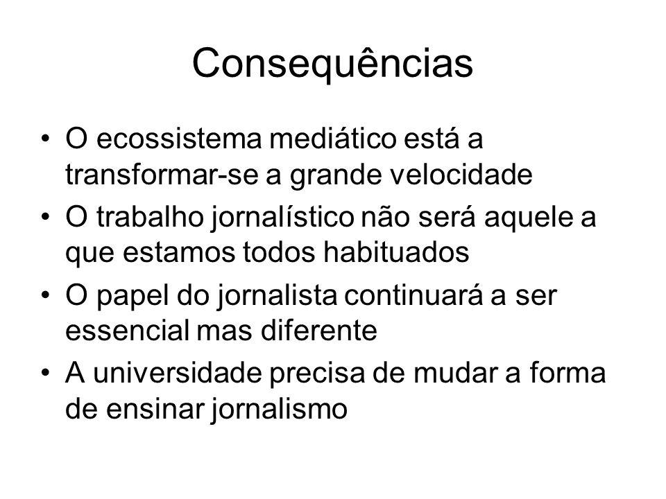 Consequências O ecossistema mediático está a transformar-se a grande velocidade O trabalho jornalístico não será aquele a que estamos todos habituados O papel do jornalista continuará a ser essencial mas diferente A universidade precisa de mudar a forma de ensinar jornalismo