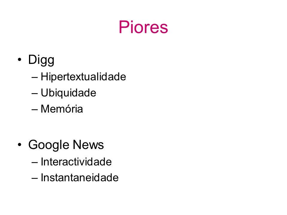 Piores Digg –Hipertextualidade –Ubiquidade –Memória Google News –Interactividade –Instantaneidade