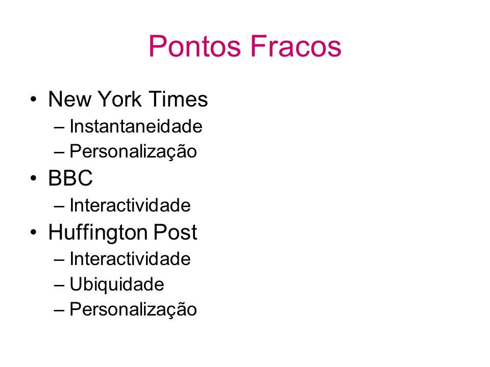 Pontos Fracos New York Times –Instantaneidade –Personalização BBC –Interactividade Huffington Post –Interactividade –Ubiquidade –Personalização