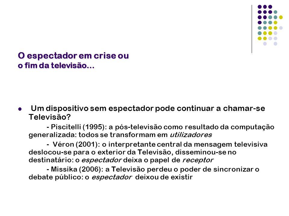 O espectador em crise ou o fim da televisão… Um dispositivo sem espectador pode continuar a chamar-se Televisão? - Piscitelli (1995): a pós-televisão
