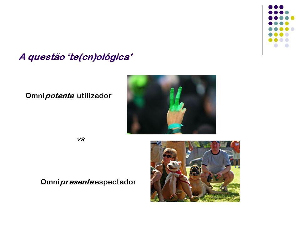 A questão te(cn)ológica Omnipotente utilizador vs Omnipresente espectador