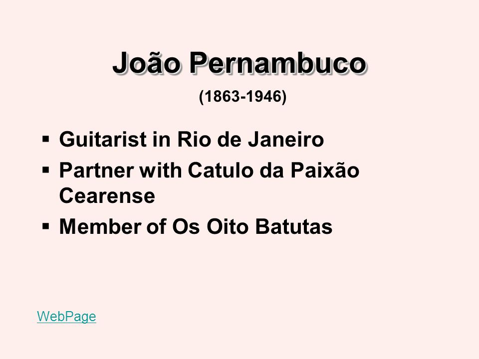 Pixinguinha and Os Oito Batutas Brazils most influential music group of the 1920s Trips to collect folk music from the Northeast Northeastern influence in repertoire WebPage