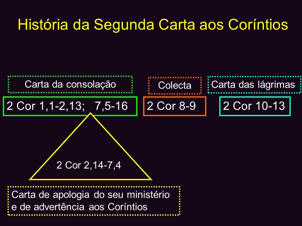 História da Segunda Carta aos Coríntios 2 Cor 1,1-2,13; 7,5-16 2 Cor 2,14-7,4 2 Cor 8-92 Cor 10-13 Carta da consolação Colecta Carta das lágrimas Cart