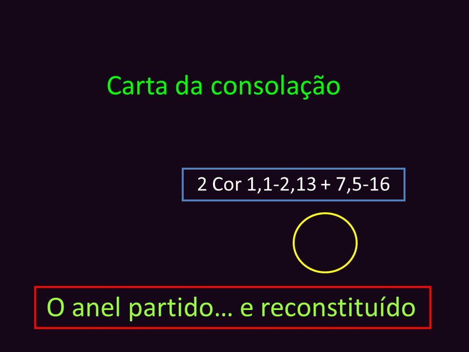 Carta da consolação 2 Cor 1,1-2,13 + 7,5-16 O anel partido… e reconstituído