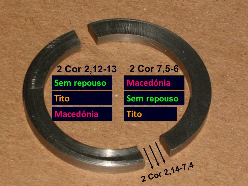 2 Cor 2,12-13 2 Cor 7,5-6 Sem repouso Tito Macedónia Sem repouso Tito 2 Cor 2,14-7,4