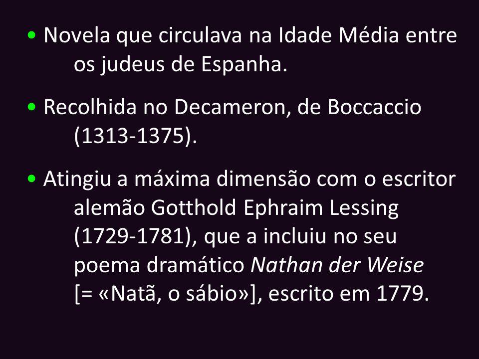 Novela que circulava na Idade Média entre os judeus de Espanha. Recolhida no Decameron, de Boccaccio (1313-1375). Atingiu a máxima dimensão com o escr
