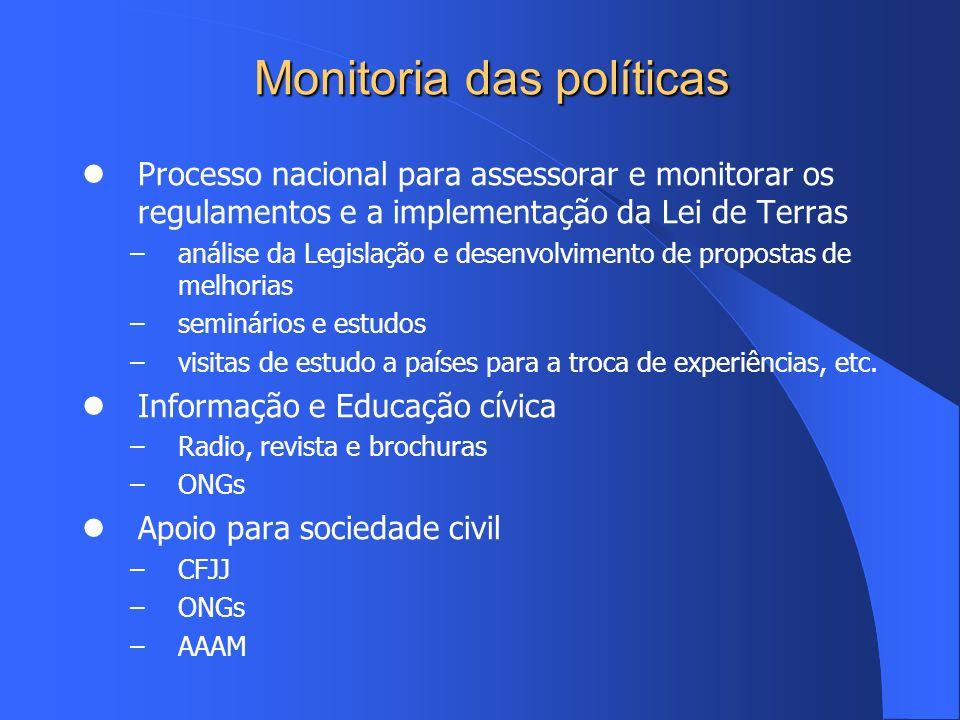 Monitoria das políticas Processo nacional para assessorar e monitorar os regulamentos e a implementação da Lei de Terras –análise da Legislação e dese