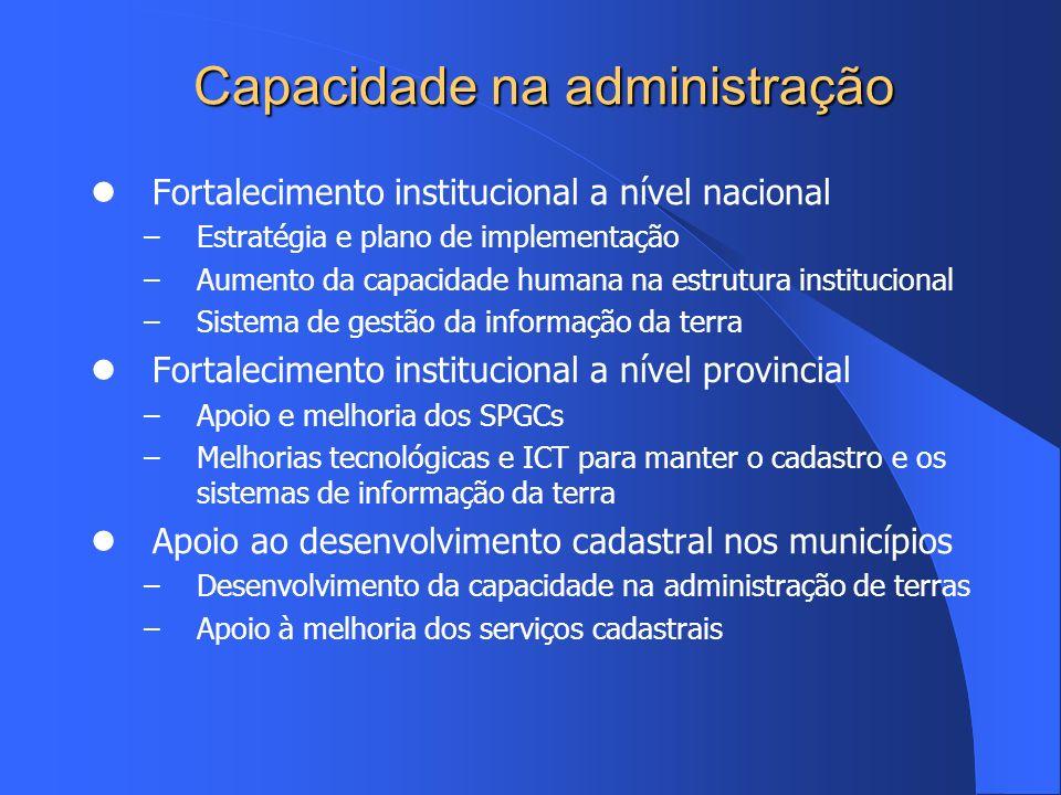 Capacidade na administração Fortalecimento institucional a nível nacional –Estratégia e plano de implementação –Aumento da capacidade humana na estrut