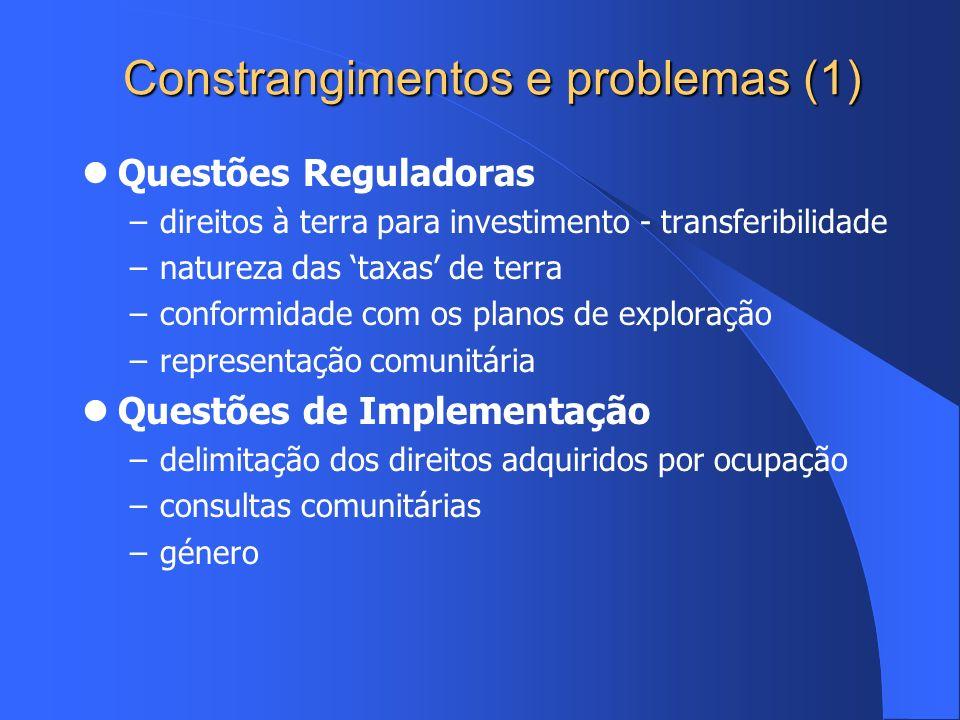 Constrangimentos e problemas (1) Questões Reguladoras –direitos à terra para investimento - transferibilidade –natureza das taxas de terra –conformida