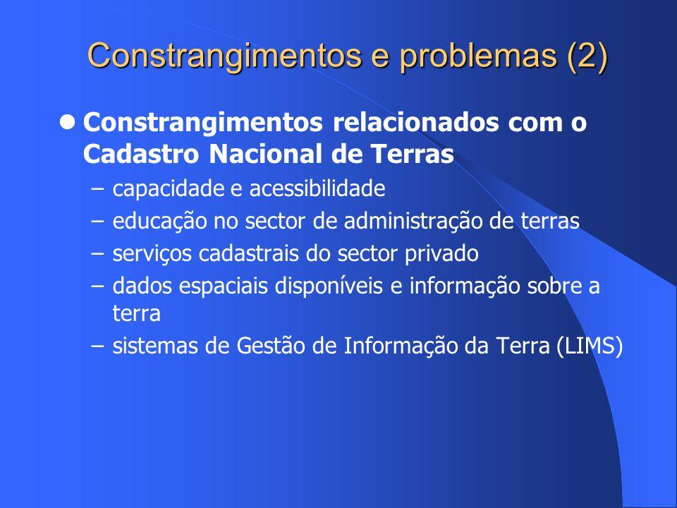 Constrangimentos e problemas (2) Constrangimentos relacionados com o Cadastro Nacional de Terras –capacidade e acessibilidade –educação no sector de a