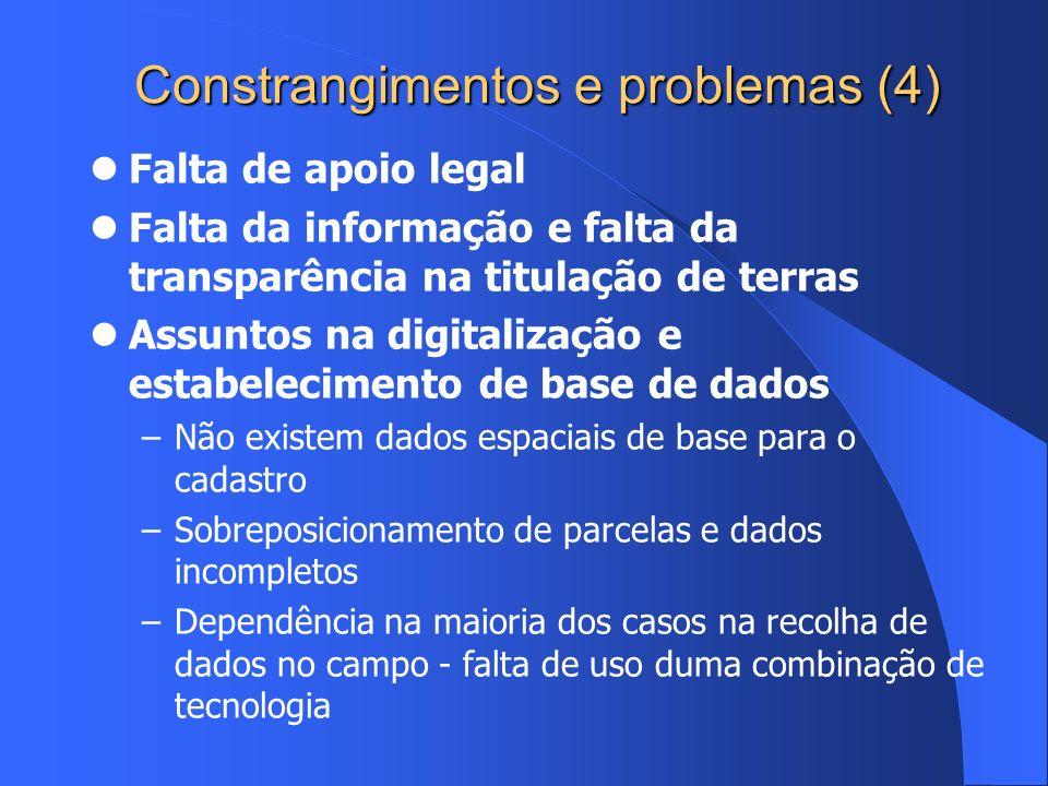 Constrangimentos e problemas (4) Falta de apoio legal Falta da informação e falta da transparência na titulação de terras Assuntos na digitalização e