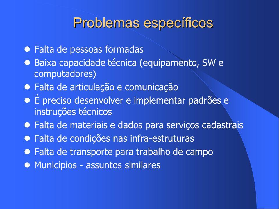Problemas específicos Falta de pessoas formadas Baixa capacidade técnica (equipamento, SW e computadores) Falta de articulação e comunicação É preciso