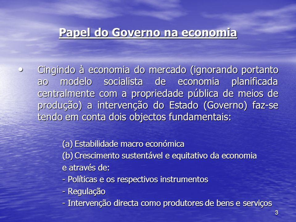 3 Papel do Governo na economia Cingindo à economia do mercado (ignorando portanto ao modelo socialista de economia planificada centralmente com a prop