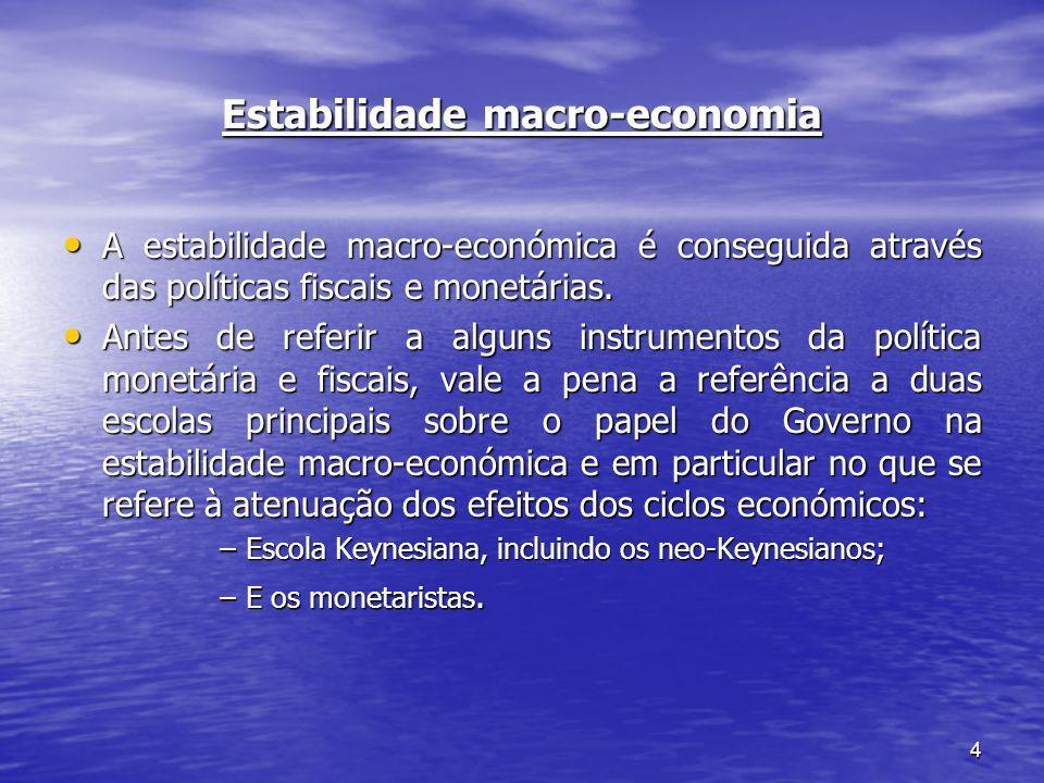 4 Estabilidade macro-economia A estabilidade macro-económica é conseguida através das políticas fiscais e monetárias. A estabilidade macro-económica é