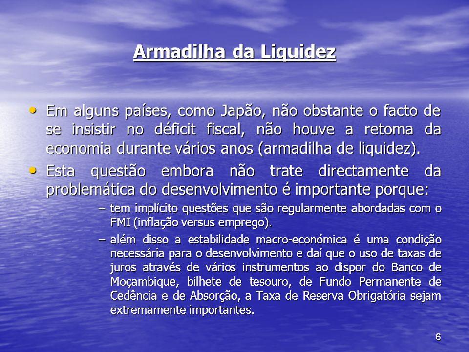 6 Armadilha da Liquidez Em alguns países, como Japão, não obstante o facto de se insistir no déficit fiscal, não houve a retoma da economia durante vá