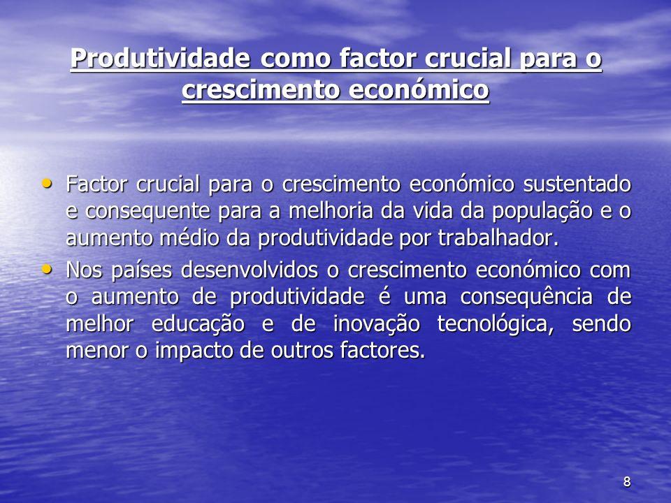 8 Produtividade como factor crucial para o crescimento económico Factor crucial para o crescimento económico sustentado e consequente para a melhoria