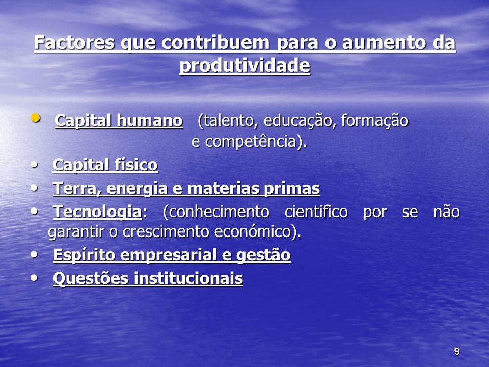 9 Factores que contribuem para o aumento da produtividade Capital humano (talento, educação, formação e competência). Capital humano (talento, educaçã