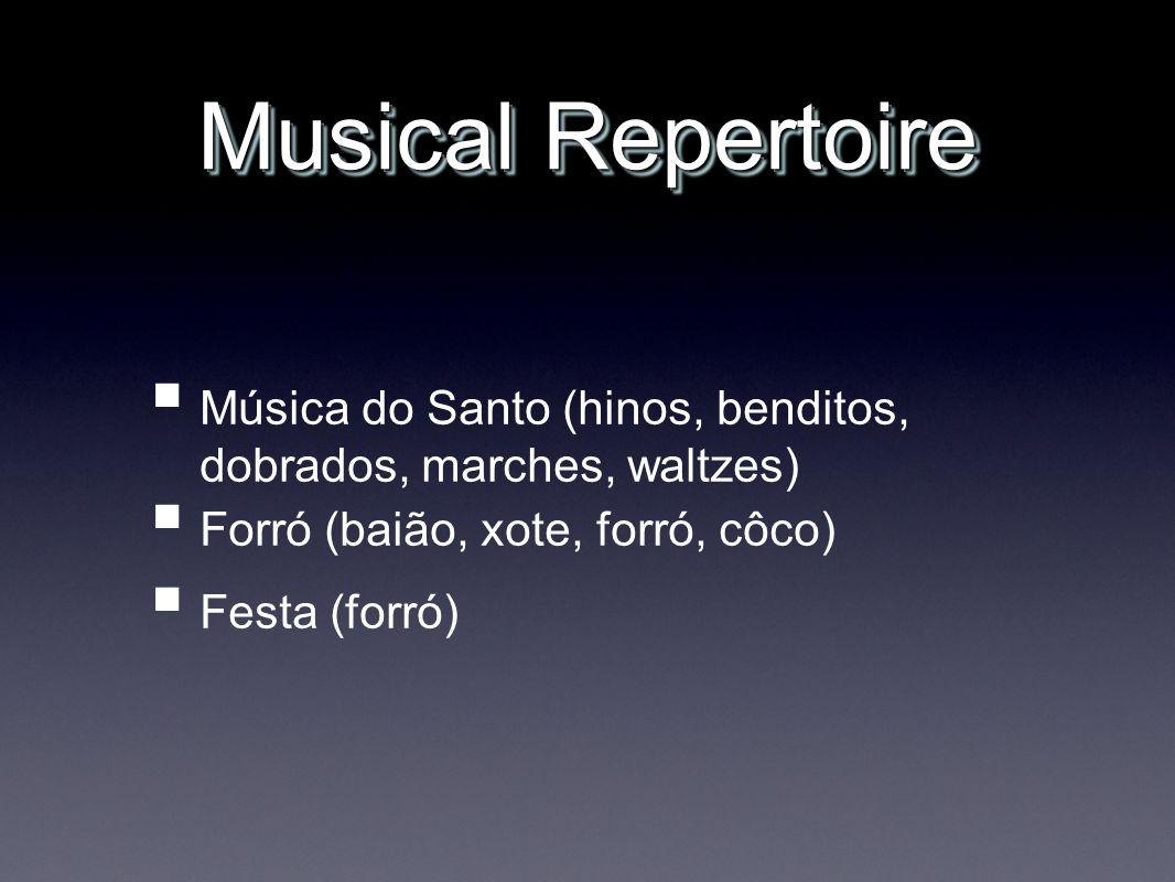 Musical Repertoire Música do Santo (hinos, benditos, dobrados, marches, waltzes) Forró (baião, xote, forró, côco) Festa (forró)