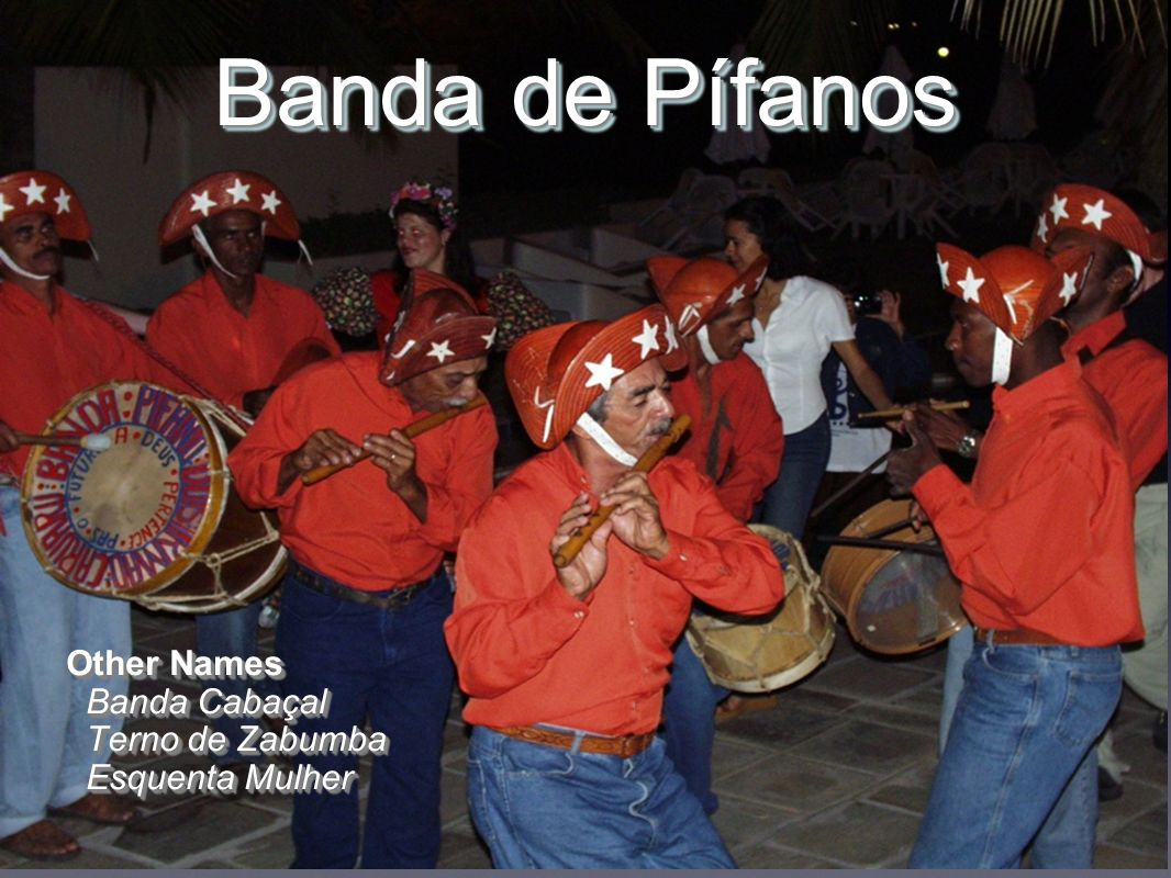 OriginsOrigins Bombos (fife & drum groups from Portugal ) Charamelas and Zabumbas West African flute ensembles Brazilian Amerindian flute traditions