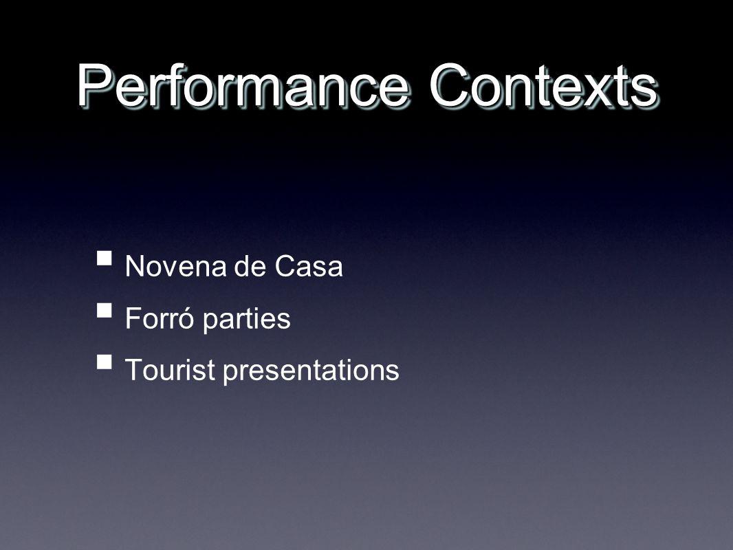 Performance Contexts Novena de Casa Forró parties Tourist presentations