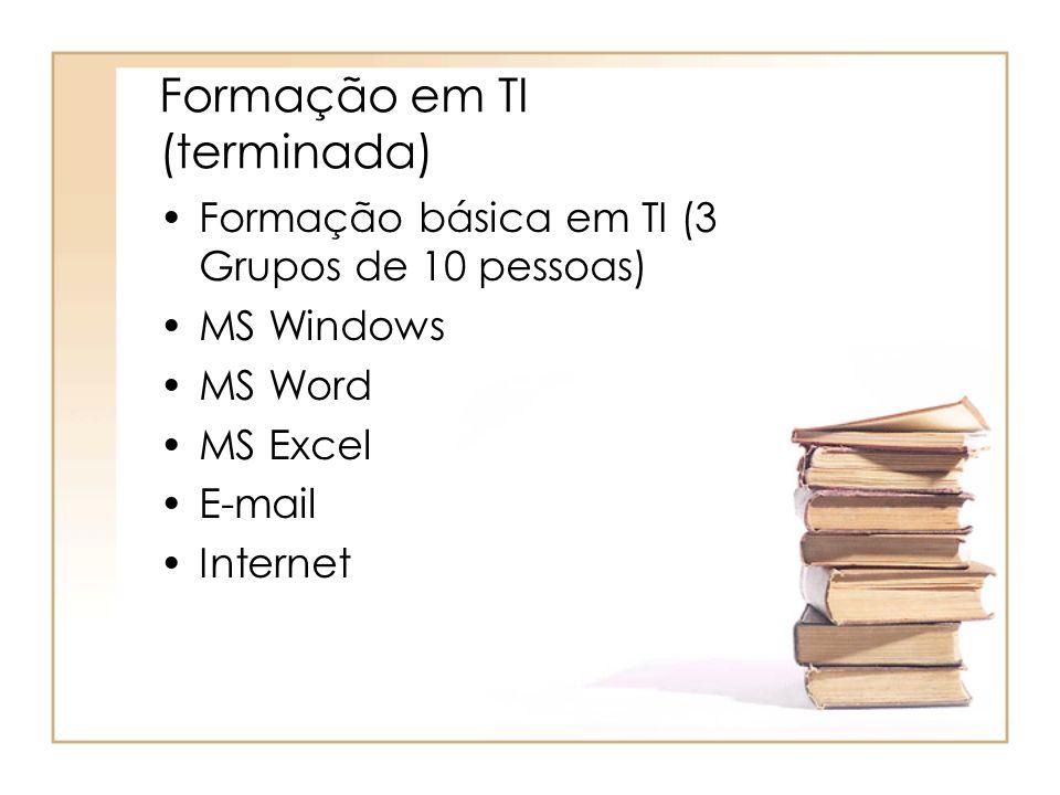 Formação em TI (terminada) Formação básica em TI (3 Grupos de 10 pessoas) MS Windows MS Word MS Excel E-mail Internet