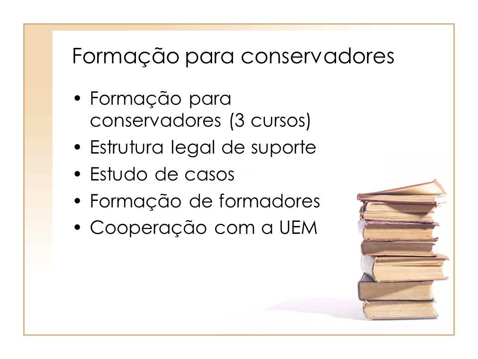 Formação para conservadores Formação para conservadores (3 cursos) Estrutura legal de suporte Estudo de casos Formação de formadores Cooperação com a