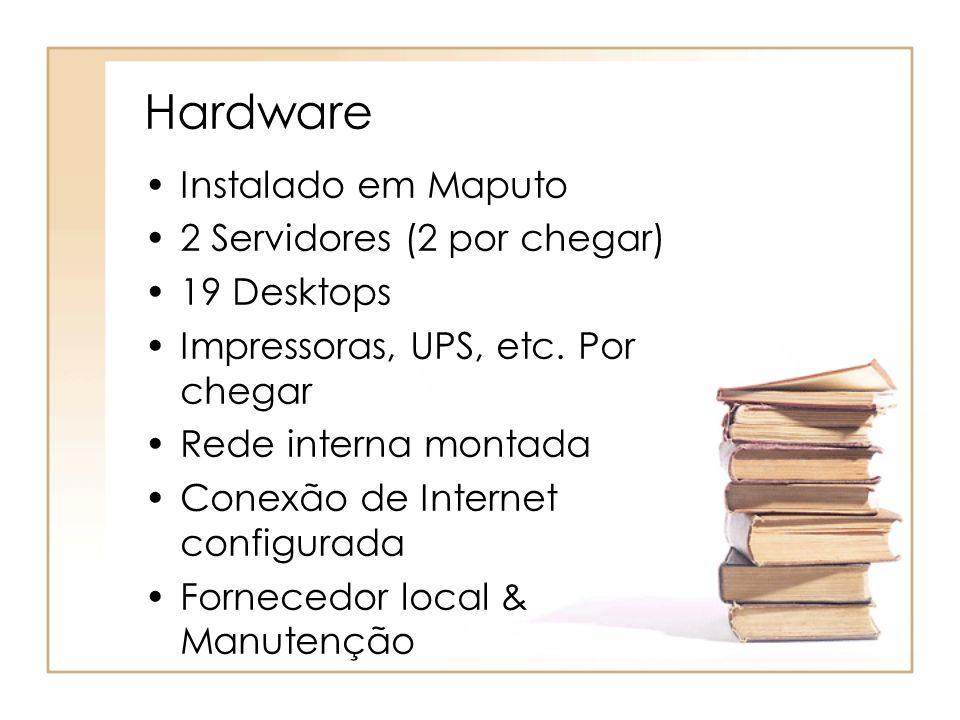 Hardware Instalado em Maputo 2 Servidores (2 por chegar) 19 Desktops Impressoras, UPS, etc. Por chegar Rede interna montada Conexão de Internet config