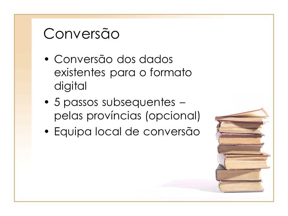 Conversão Conversão dos dados existentes para o formato digital 5 passos subsequentes – pelas províncias (opcional) Equipa local de conversão