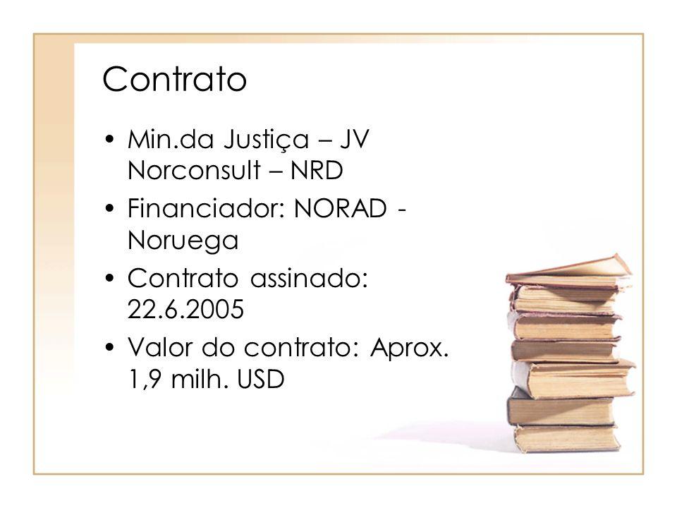 Contrato Min.da Justiça – JV Norconsult – NRD Financiador: NORAD - Noruega Contrato assinado: 22.6.2005 Valor do contrato: Aprox. 1,9 milh. USD