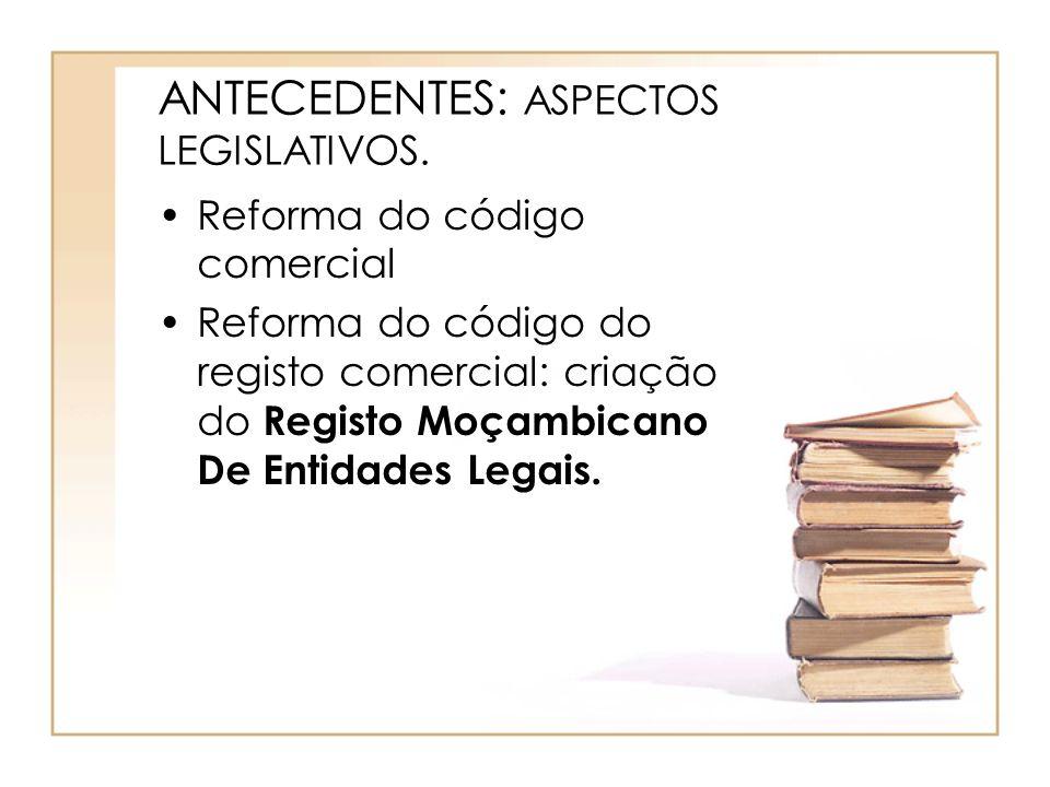 ANTECEDENTES: ASPECTOS LEGISLATIVOS. Reforma do código comercial Reforma do código do registo comercial: criação do Registo Moçambicano De Entidades L