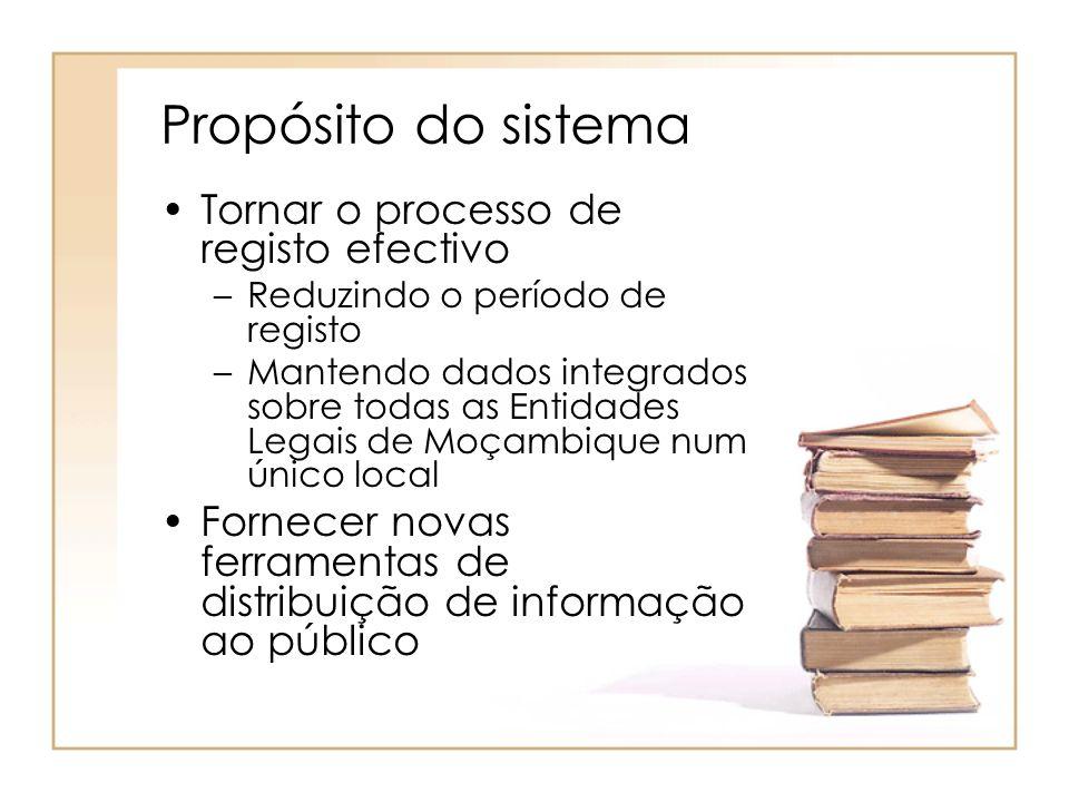 Propósito do sistema Tornar o processo de registo efectivo –Reduzindo o período de registo –Mantendo dados integrados sobre todas as Entidades Legais