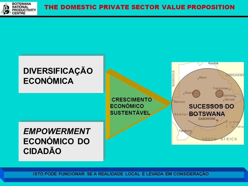 THE DOMESTIC PRIVATE SECTOR VALUE PROPOSITION DIVERSIFICAÇÃO ECONÓMICA EMPOWERMENT ECONÓMICO DO CIDADÃO CRESCIMENTO ECONÓMICO SUSTENTÁVEL SUCESSOS DO