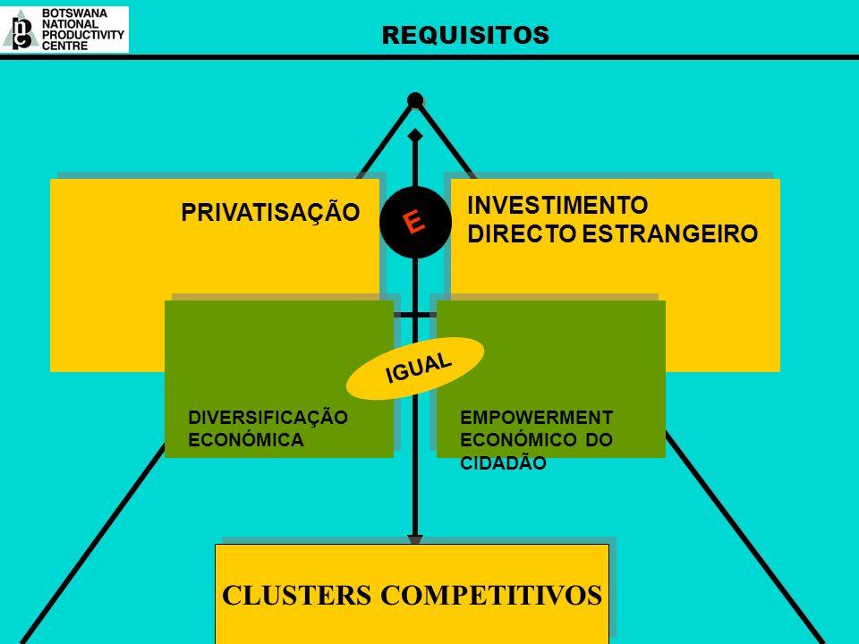 REQUISITOS INVESTIMENTO DIRECTO ESTRANGEIRO PRIVATISAÇÃO E DIVERSIFICAÇÃO ECONÓMICA EMPOWERMENT ECONÓMICO DO CIDADÃO IGUAL CLUSTERS COMPETITIVOS