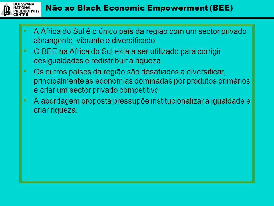Não ao Black Economic Empowerment (BEE) A África do Sul é o único país da região com um sector privado abrangente, vibrante e diversificado. O BEE na
