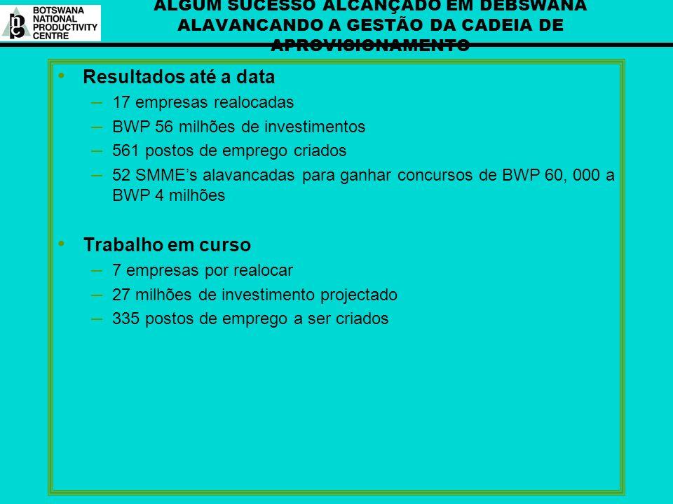 ALGUM SUCESSO ALCANÇADO EM DEBSWANA ALAVANCANDO A GESTÃO DA CADEIA DE APROVISIONAMENTO Resultados até a data – 17 empresas realocadas – BWP 56 milhões