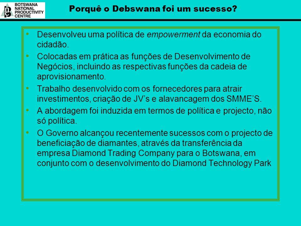 Porquê o Debswana foi um sucesso? Desenvolveu uma política de empowerment da economia do cidadão. Colocadas em prática as funções de Desenvolvimento d