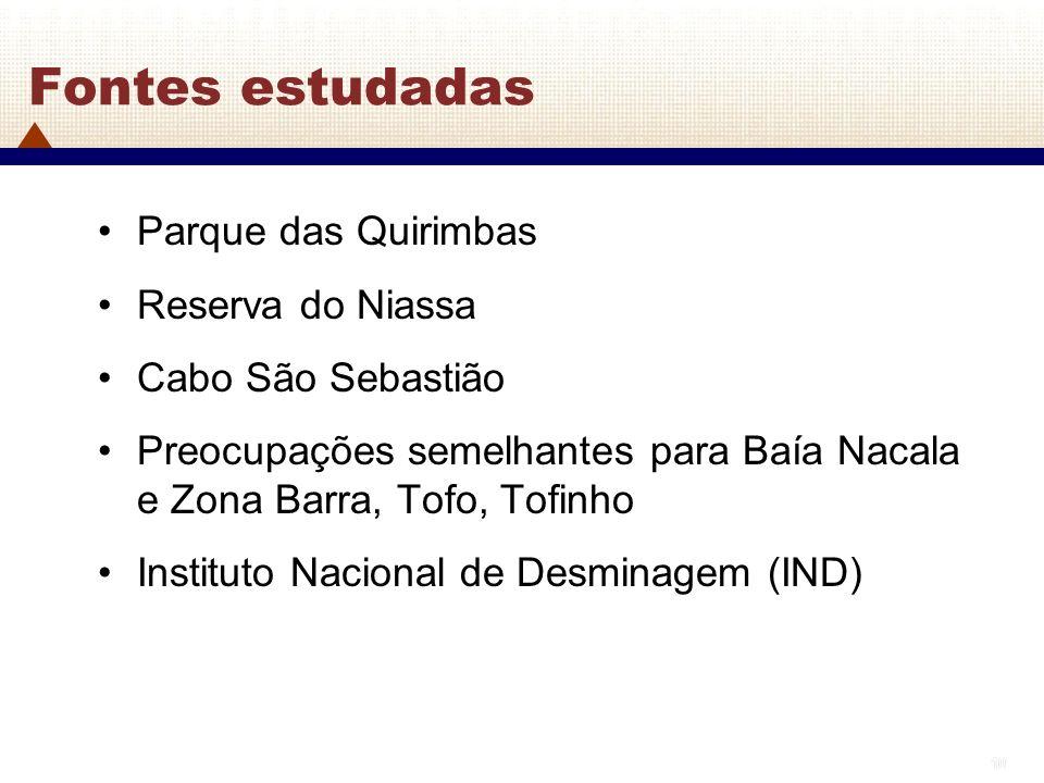10 Fontes estudadas Parque das Quirimbas Reserva do Niassa Cabo São Sebastião Preocupações semelhantes para Baía Nacala e Zona Barra, Tofo, Tofinho In