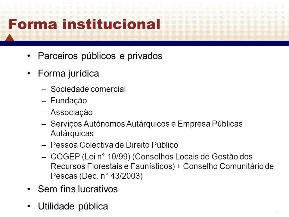13 Forma institucional Parceiros públicos e privados Forma jurídica –Sociedade comercial –Fundação –Associação –Serviços Autónomos Autárquicos e Empre