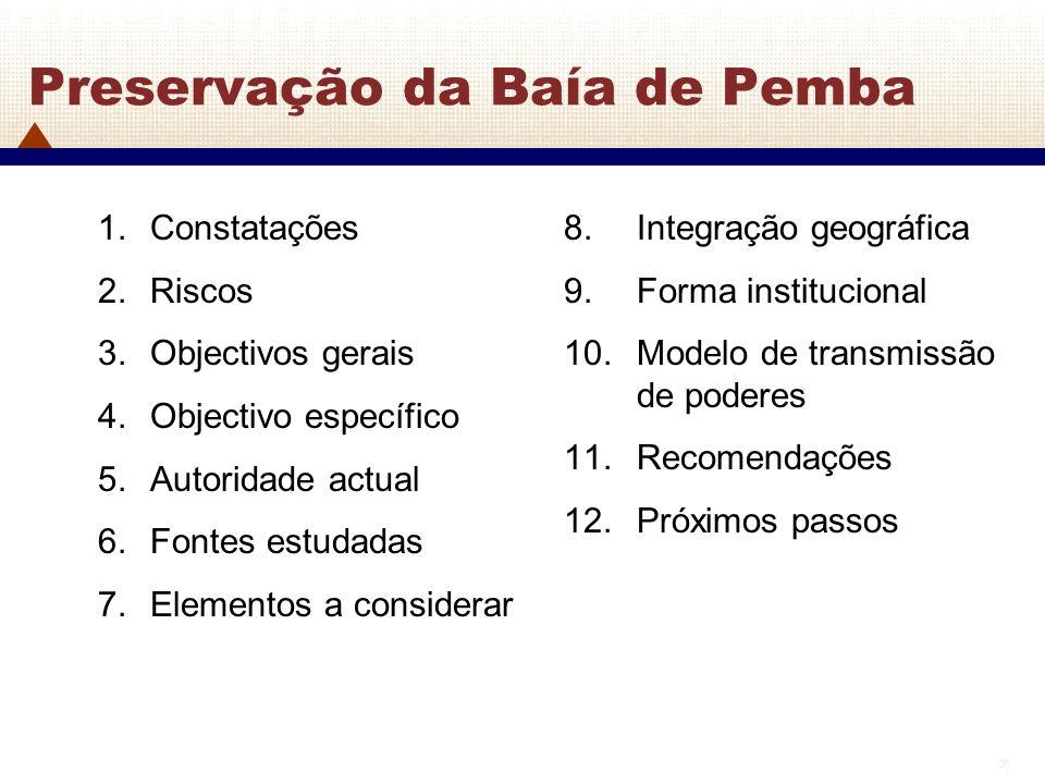 2 2 Preservação da Baía de Pemba 1.Constatações 2.Riscos 3.Objectivos gerais 4.Objectivo específico 5.Autoridade actual 6.Fontes estudadas 7.Elementos