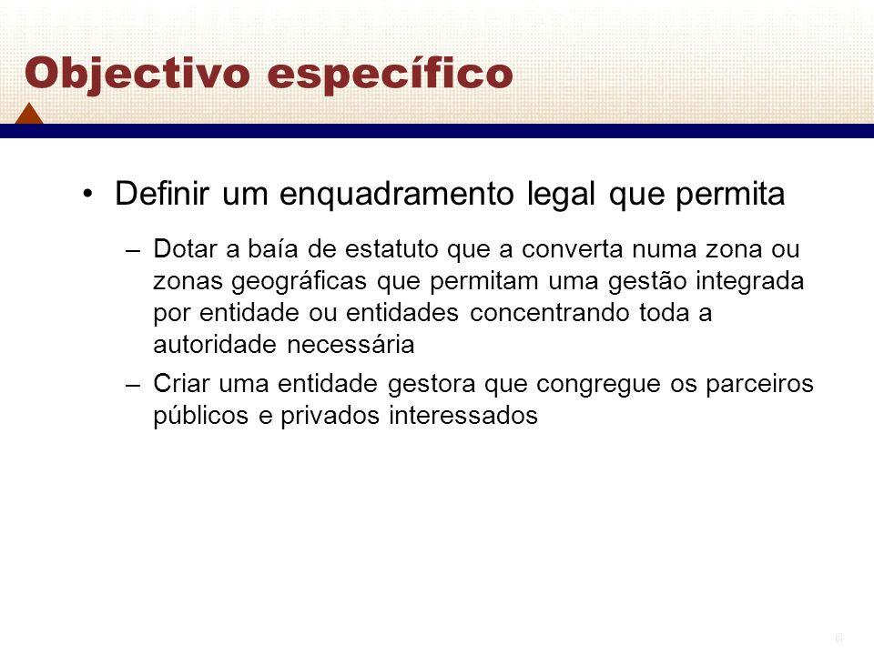 6 6 Objectivo específico Definir um enquadramento legal que permita –Dotar a baía de estatuto que a converta numa zona ou zonas geográficas que permit