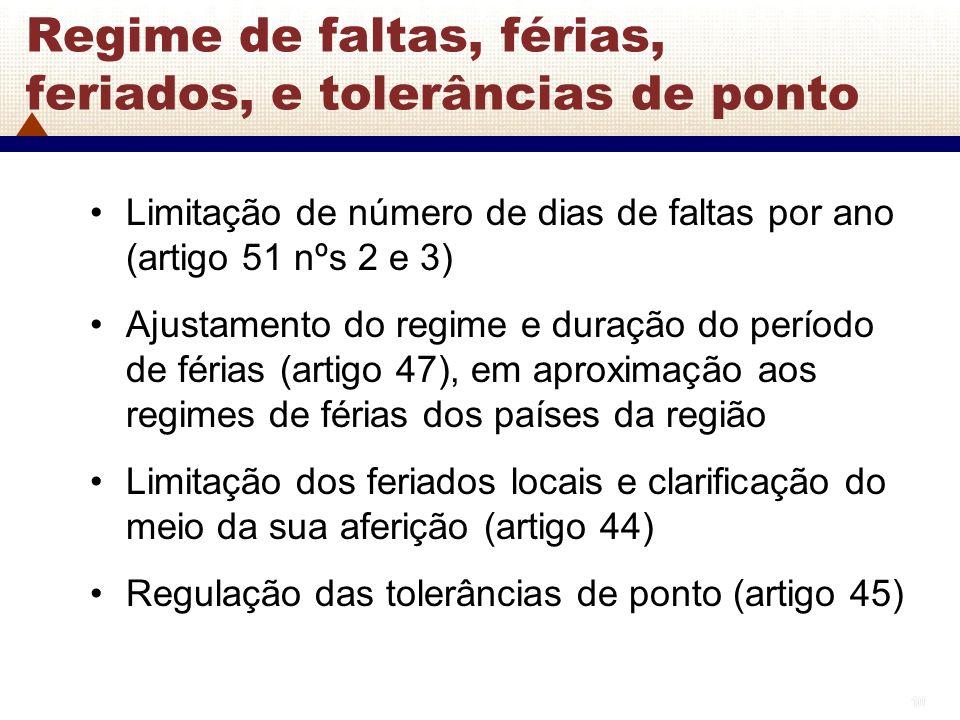 10 Regime de faltas, férias, feriados, e tolerâncias de ponto Limitação de número de dias de faltas por ano (artigo 51 nºs 2 e 3) Ajustamento do regim