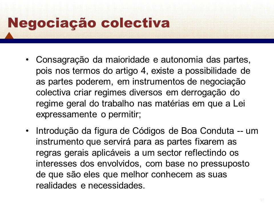 14 Negociação colectiva Consagração da maioridade e autonomia das partes, pois nos termos do artigo 4, existe a possibilidade de as partes poderem, em