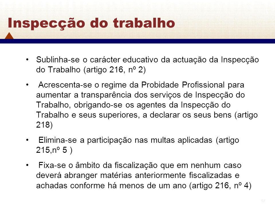 17 Inspecção do trabalho Sublinha-se o carácter educativo da actuação da Inspecção do Trabalho (artigo 216, nº 2) Acrescenta-se o regime da Probidade