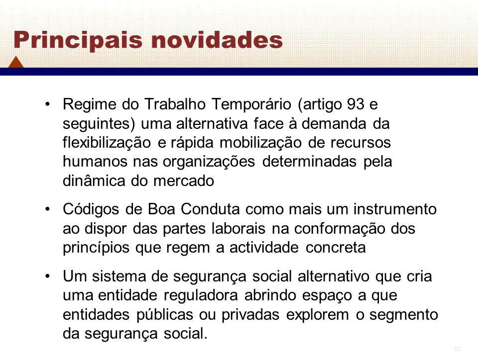 18 Principais novidades Regime do Trabalho Temporário (artigo 93 e seguintes) uma alternativa face à demanda da flexibilização e rápida mobilização de