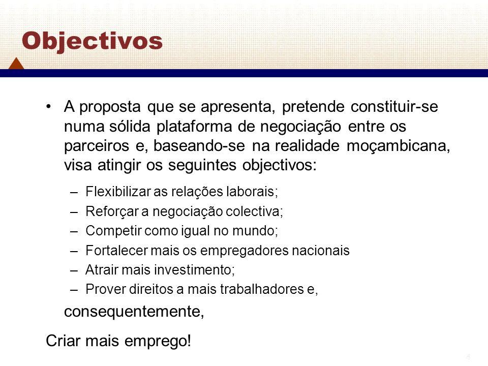 4 4 Objectivos A proposta que se apresenta, pretende constituir-se numa sólida plataforma de negociação entre os parceiros e, baseando-se na realidade