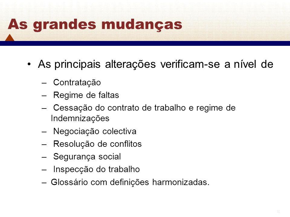 8 8 As grandes mudanças As principais alterações verificam-se a nível de – Contratação – Regime de faltas – Cessação do contrato de trabalho e regime