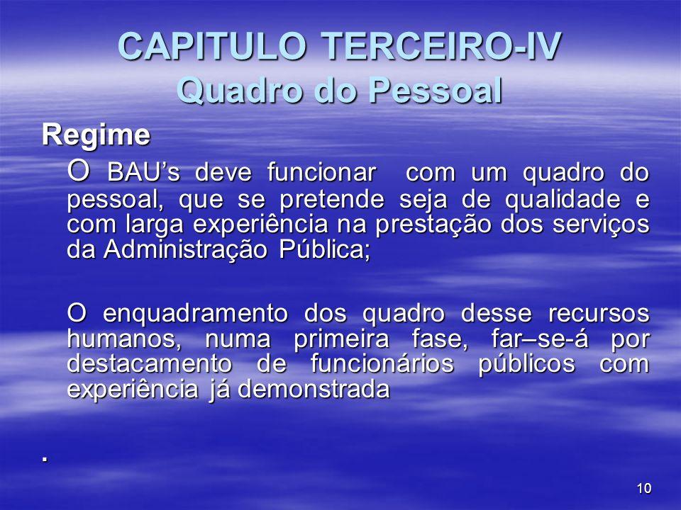 10 CAPITULO TERCEIRO-IV Quadro do Pessoal Regime O BAUs deve funcionar com um quadro do pessoal, que se pretende seja de qualidade e com larga experiê