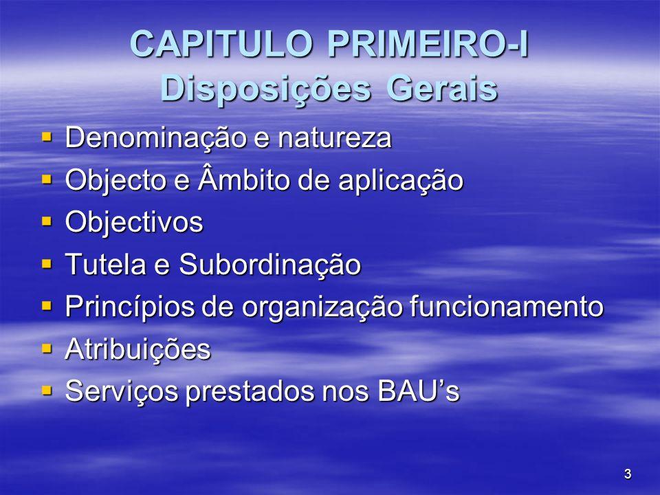 3 CAPITULO PRIMEIRO-I Disposições Gerais Denominação e natureza Denominação e natureza Objecto e Âmbito de aplicação Objecto e Âmbito de aplicação Obj